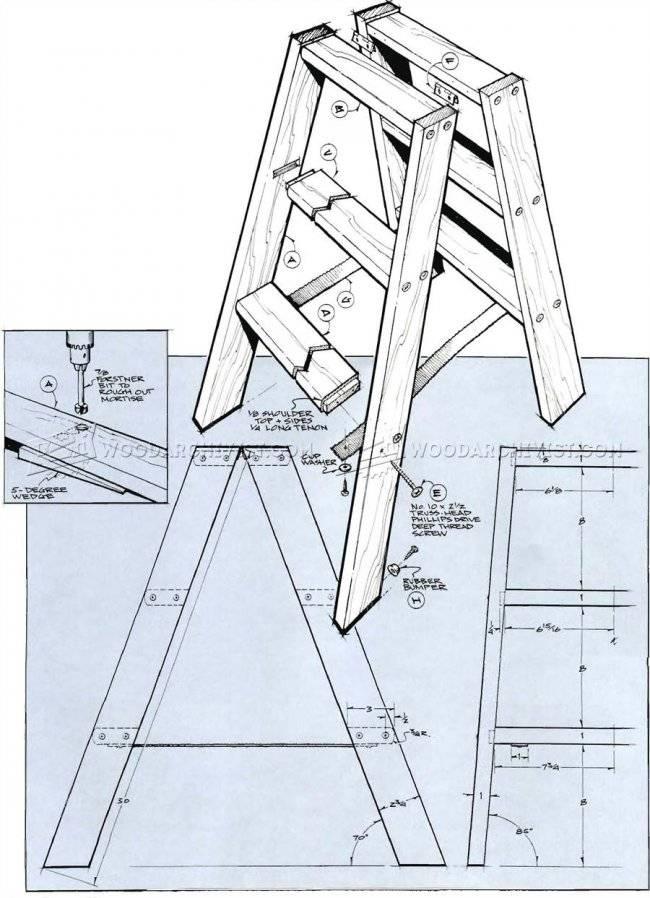 Приставная лестница своими руками из дерева: деревянную сделать по гост, чертежи и размеры, ремонт и производство