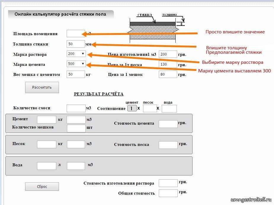 Как рассчитать раствор для стяжки пола — калькулятор стяжки как рассчитать раствор для стяжки пола — калькулятор стяжки
