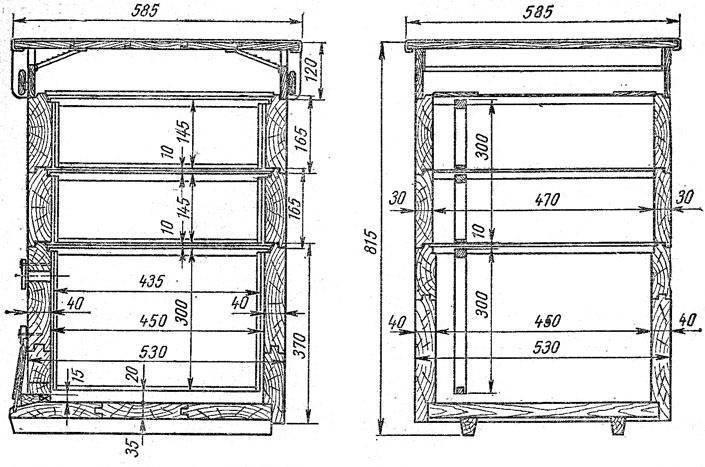 Улей лежак на 24 рамки: чертеж, конструкция, размеры улья