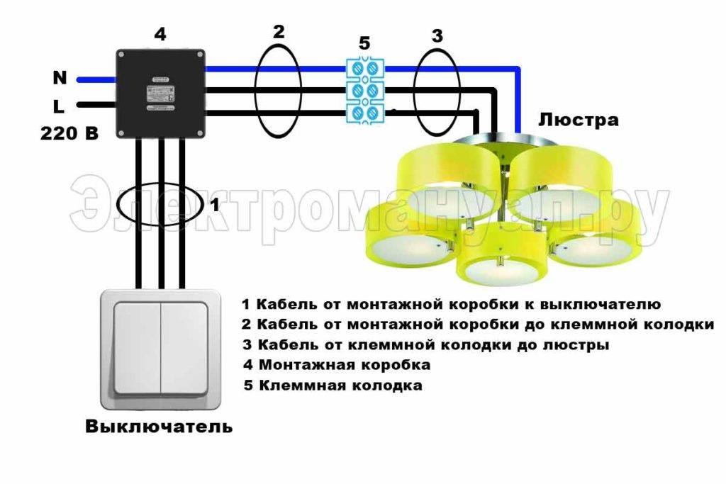 Как подключить люстру к двухклавишному выключателю - схемы и инструкция - строительство и ремонт