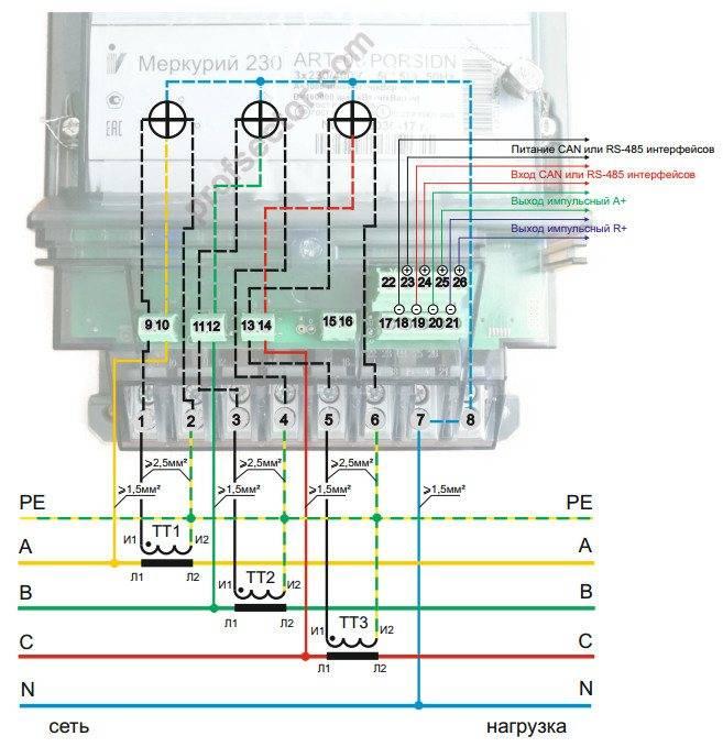 Меркурий 230 art 03 cn схема подключения. схема подключения испытательной коробки с трансформаторами тока