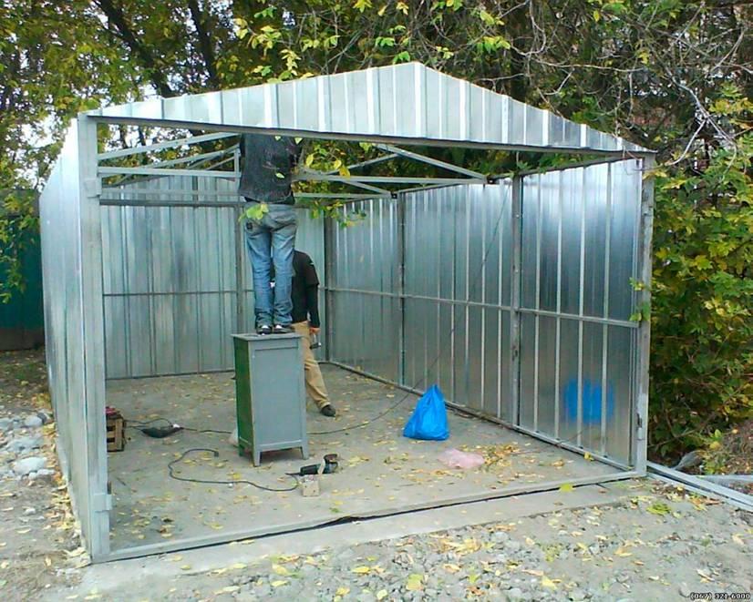 Сарай из металла (профнастила) — процесс изготовления с фото