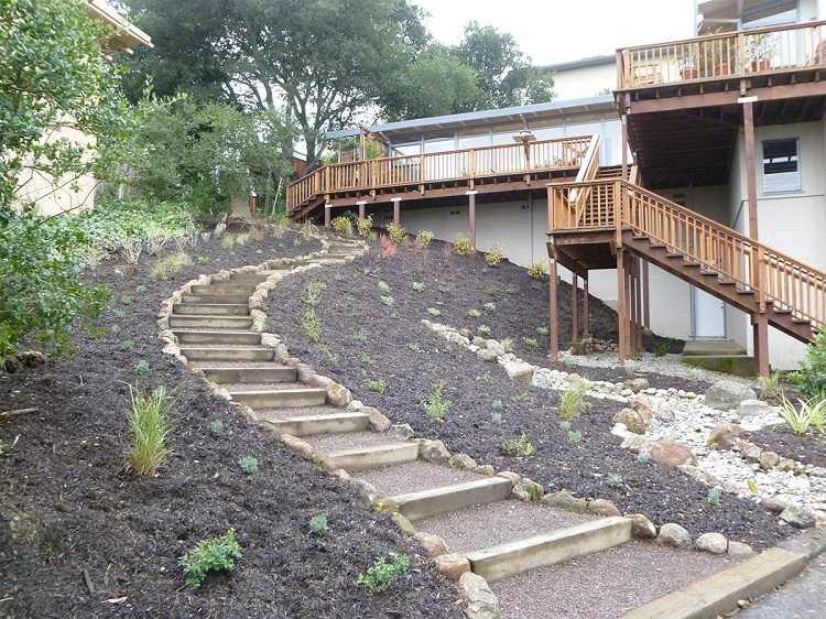 Лестницы на садовом и дачном участке: как сделать своими руками, какие материалы можно использовать