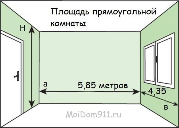 Расчет площади комнаты - стены, пол, потолок, в том числе неправильной формы калькулятор и видео