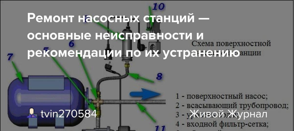 Неисправности  насосной станции, или как отремонтировать насосную станцию своими руками