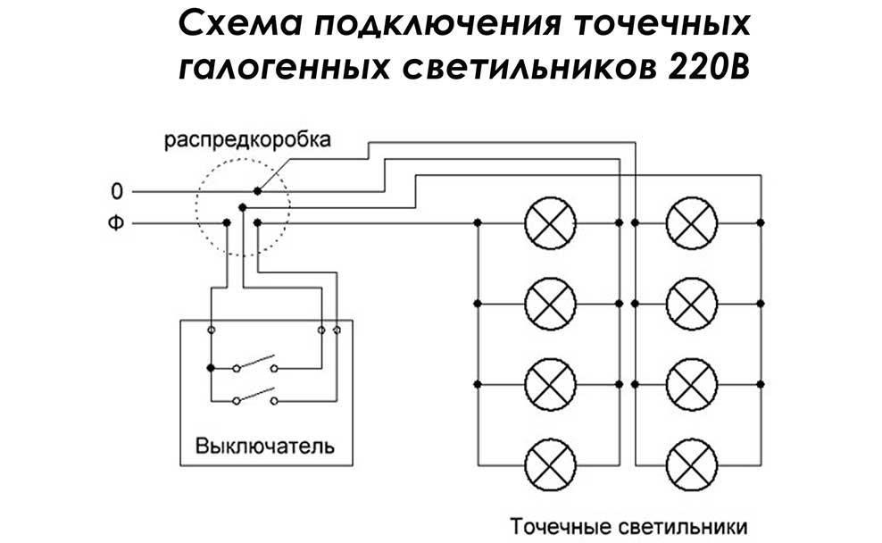 Какая схема подключения точечных светильников лучше – виды и способы монтажа