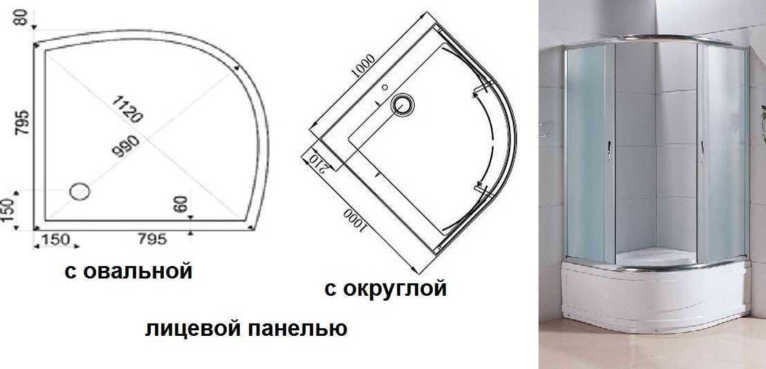 Размеры душевых кабин прямоугольных, квадратных, многоугольных, асимметричных