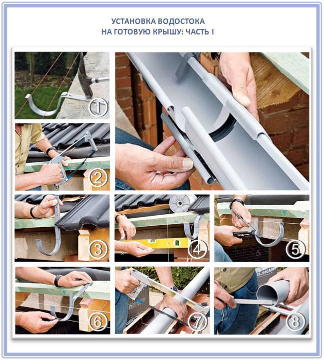 Установка и монтаж водостоков на крышу: пошаговая инструкция как крепить водостоки