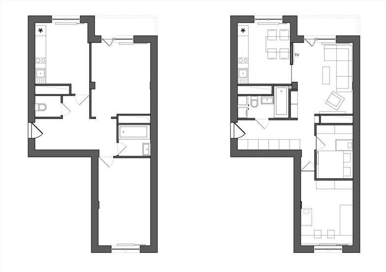 Перепланировка двухкомнатной квартиры в хрущевке: особенности дизайна