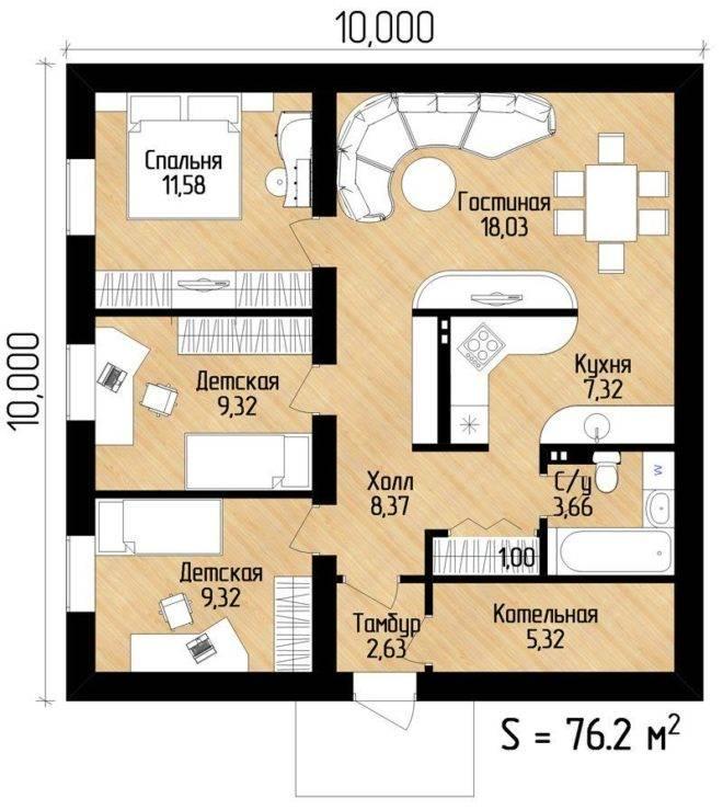 Проекты одноэтажных домов: строительство конструкции 8х8, 9х9, 10х10, 12х12 с отличной планировкой