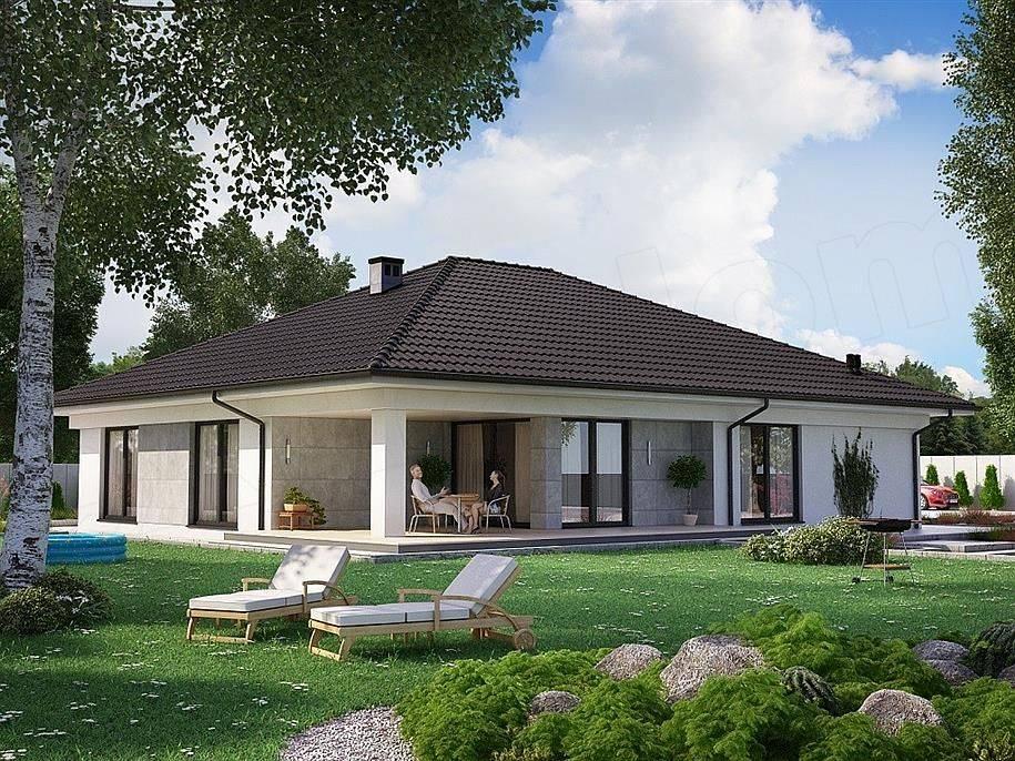 Проекты одноэтажных домов с террасой - 70 современных идей!