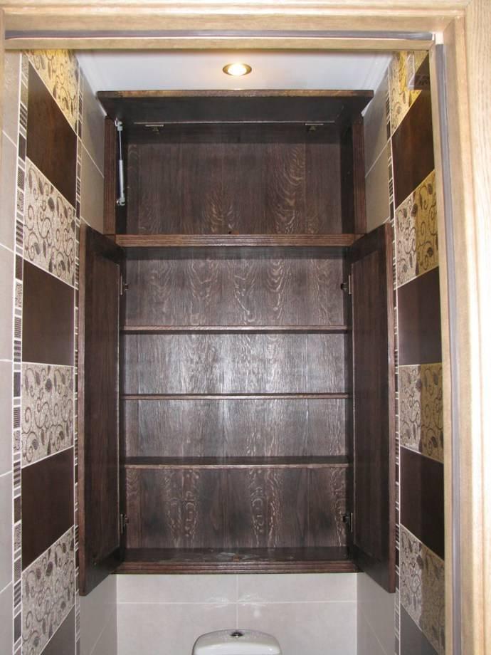 Встроенный шкаф в туалете за унитазом (59 фото): виды встраиваемых шкафчиков в санузле с раковиной и без нее. как разместить шкаф над инсталляцией или вытяжкой?