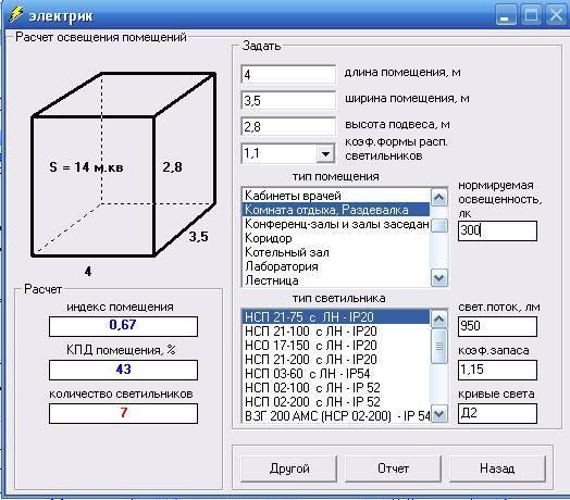 Расчет освещенности помещений – формулы и примеры, нормы и типы помещений