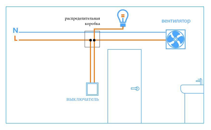 Как подключить вентилятор в ванной к выключателю: схема