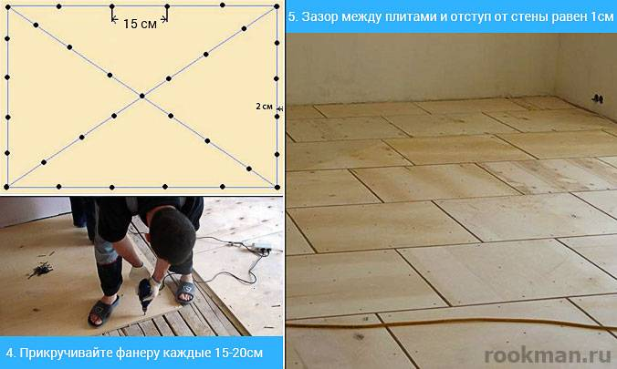 Как уложить фанеру на деревянный пол
