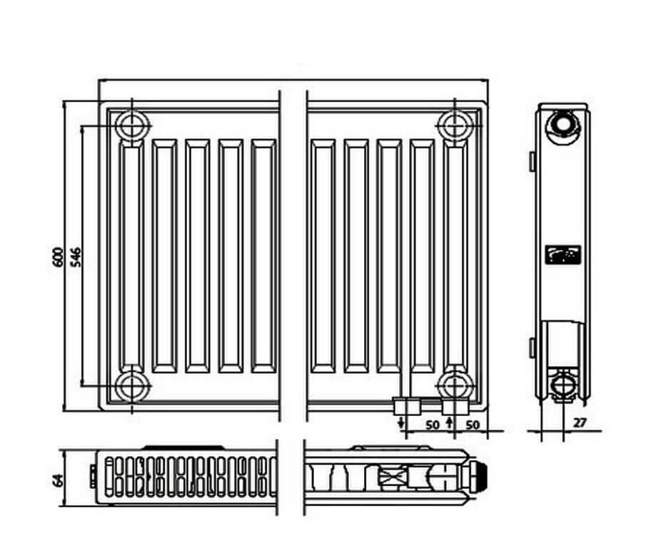 Радиаторы kermi kermi ftv(fkv) с нижним подключением