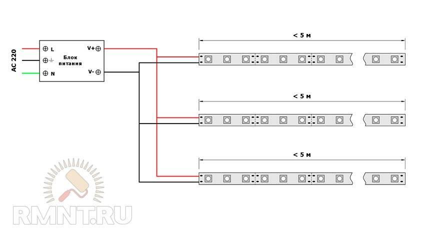 Схемы подключения точечных светильников