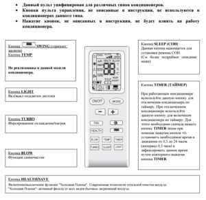 Инструкция к пульту от кондиционера tosot