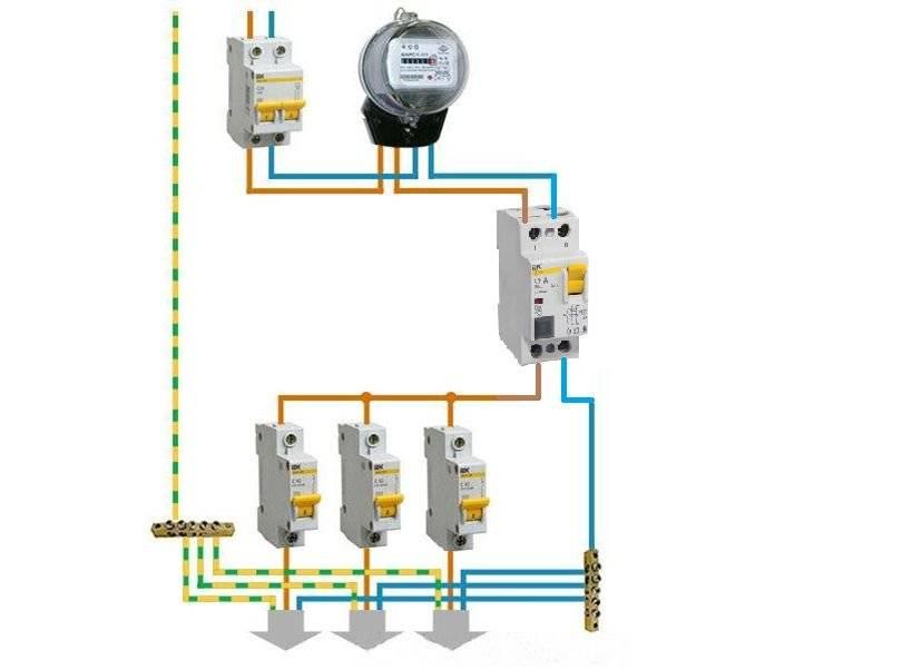 Подключение дифавтомата: схема подключения с заземлением и без заземления
