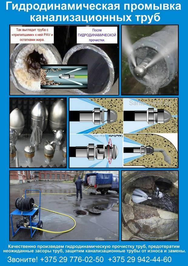 Гидродинамическая прочистка канализации: виды машин
