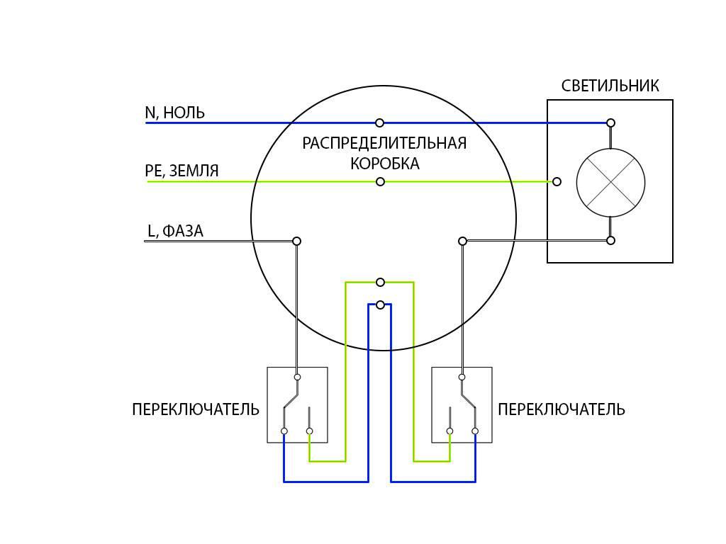 Схема подключения проходного выключателя: из двух и трех точек