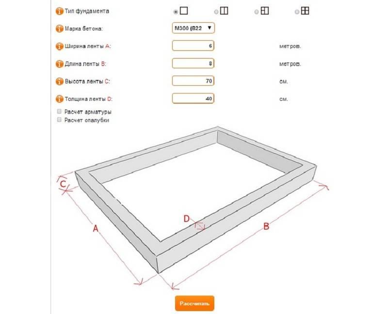 Онлайн калькулятор фундамента монолитная плита