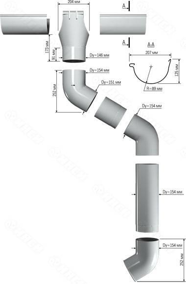 Характеристики водосточного желоба, его размеры и из каких элементов он состоит: кронштейна, уголок, заглушка и т.д