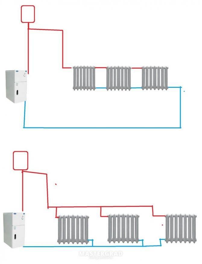 Схемы двухтрубной системы отопления   грейпей