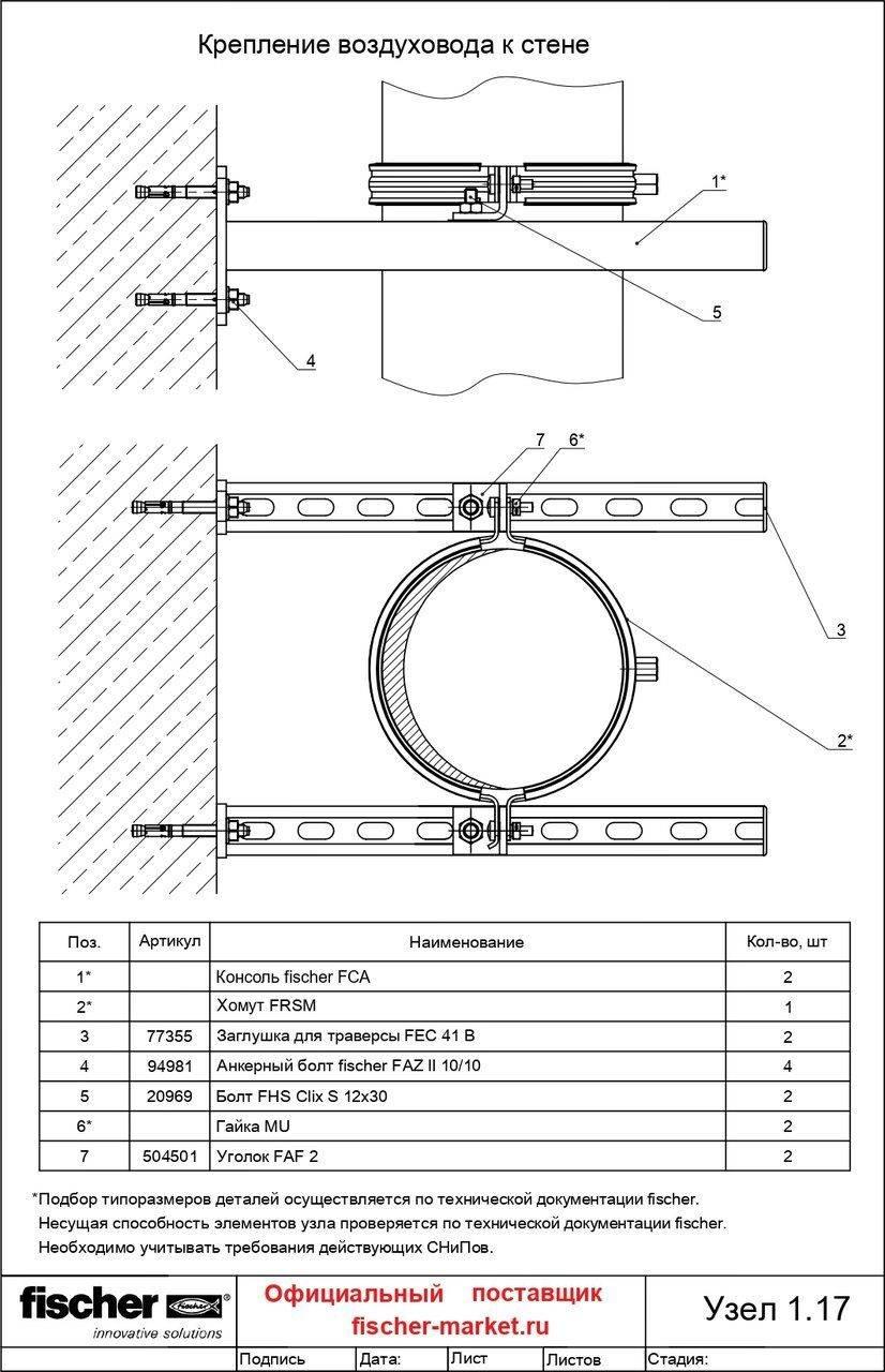Крепление воздуховодов: прямоугольных, горизонтальных и вертикальных