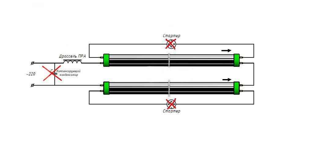 Как подключить светодиодную лампу вместо люминесцентных, схема