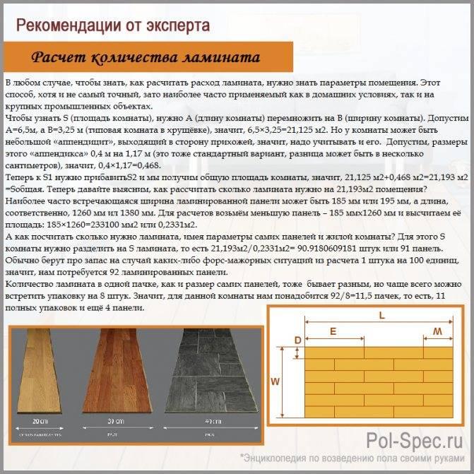 Как рассчитать количество ламината на пол – по площади