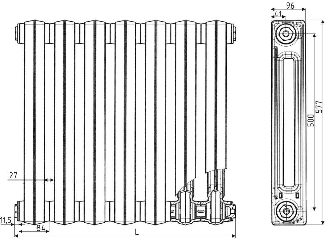 Технические характеристики чугунных радиаторов - мощность, срок службы, теплоотдача, размеры и расчет