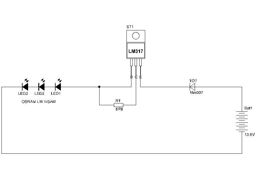 Стабилизатор тока на lm317 для светодиодов