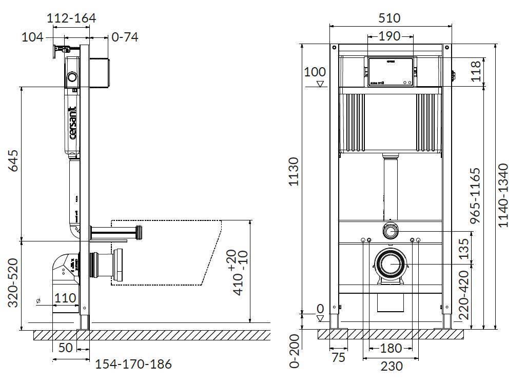 Инсталляции для унитаза: стандартные и минимальные размеры