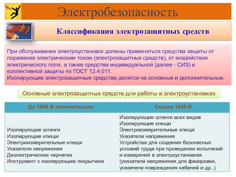 Правила пользования основными и дополнительными электрозащитными средствами