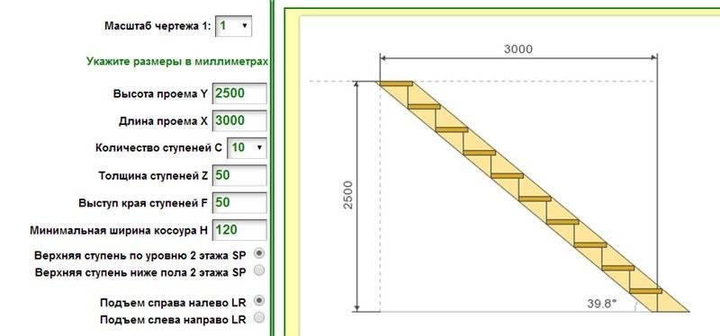 3d расчет прямой лестницы на косоурах