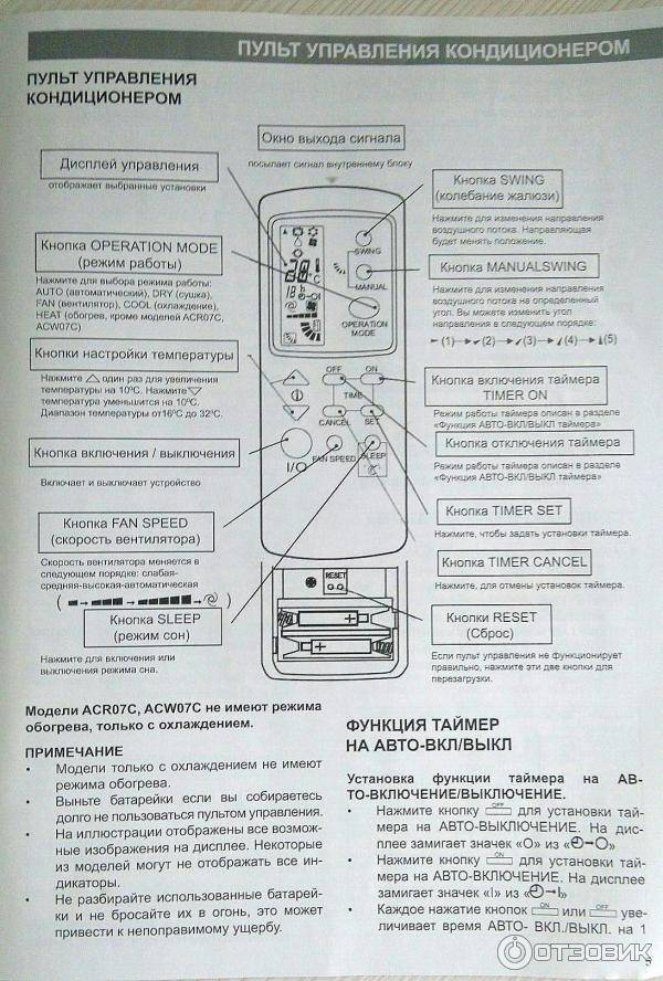 Инструкция к пульту управления от кондиционера toshiba