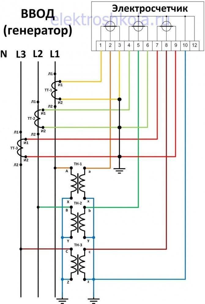 Подключение трансформаторов тока к трехфазному счетчику меркурий - морской флот