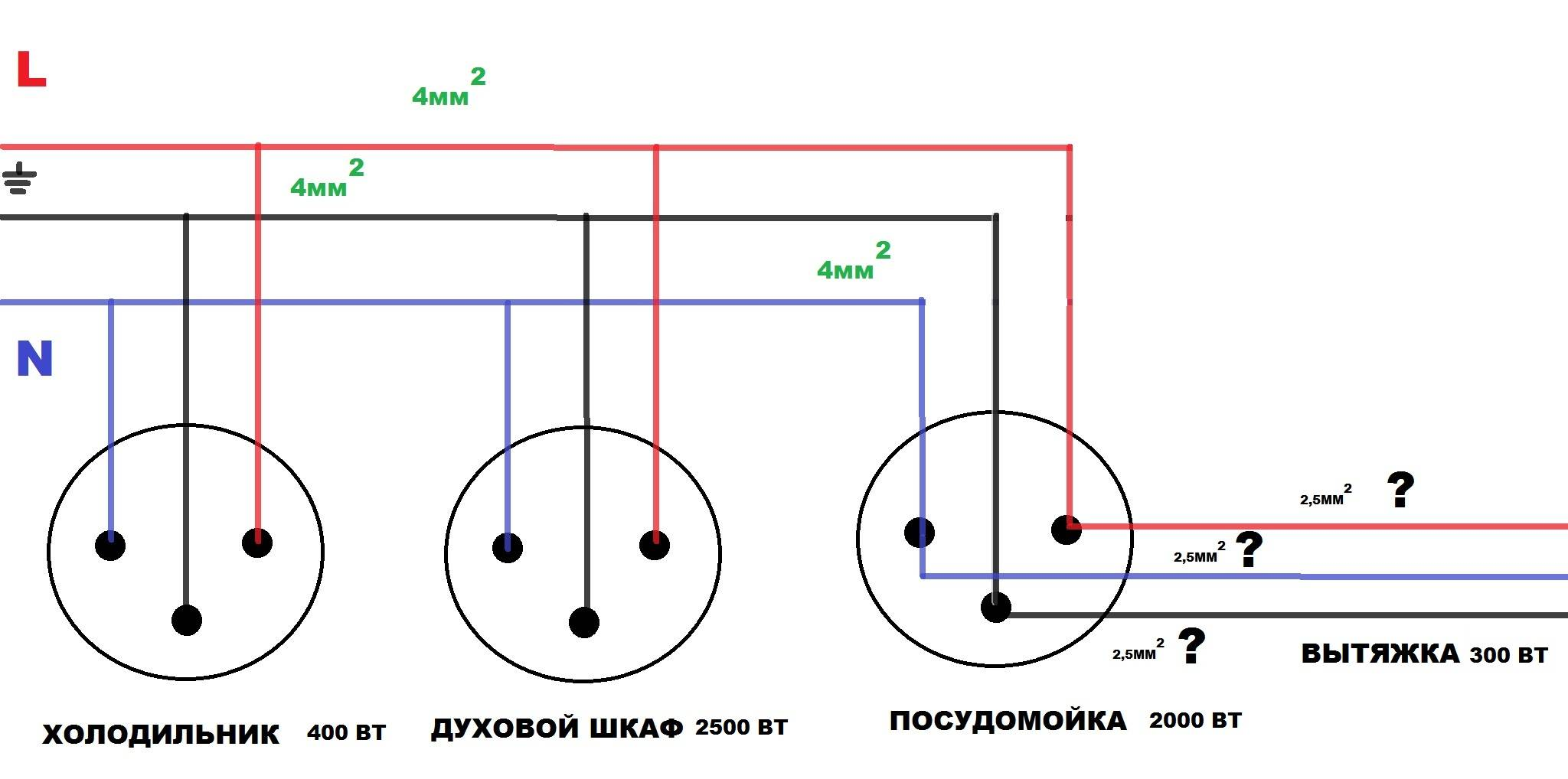 Тройная розетка в один подрозетник - подключение своими руками