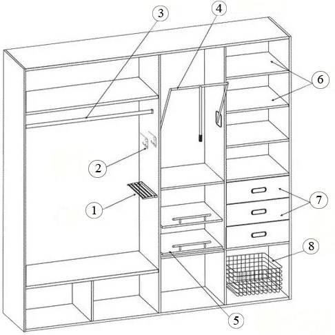 Шкаф купе внутри: варианты фото с размерами и внутреннее наполнение шкафа-купе в прихожую, в спальню, фото дизайн шкафа с размерами.