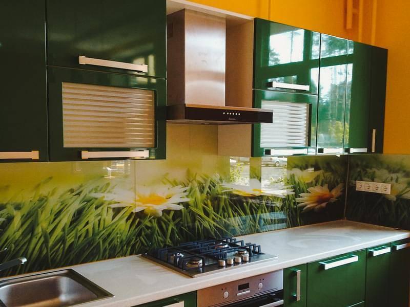 Скинали для кухни из стекла, мдф, пластика, подборка фото в интерьере