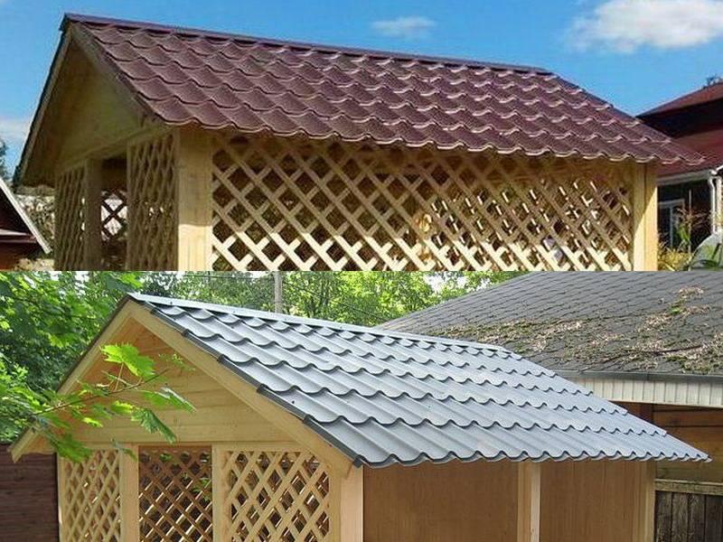 Крыша беседки своими руками: односкатная, плоская, двухскатная, четырехскатная крыша фото