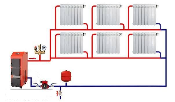 Двухтрубная система отопления двухэтажного дома: схема для частного дома