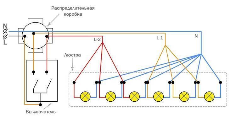 Как подключить люстру с 3 проводами к двойному выключателю своими руками