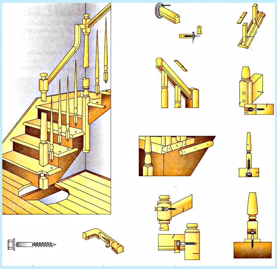 Как крепить балясины? крепление к деревянной лестнице своими руками, как устанавливать на тетиву, как и чем прикрепить к полу, ступеням и перилам