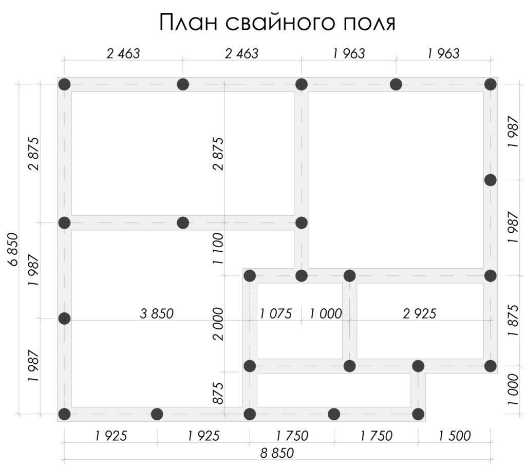 Расстояние между сваями фундамента. расчет и особенности