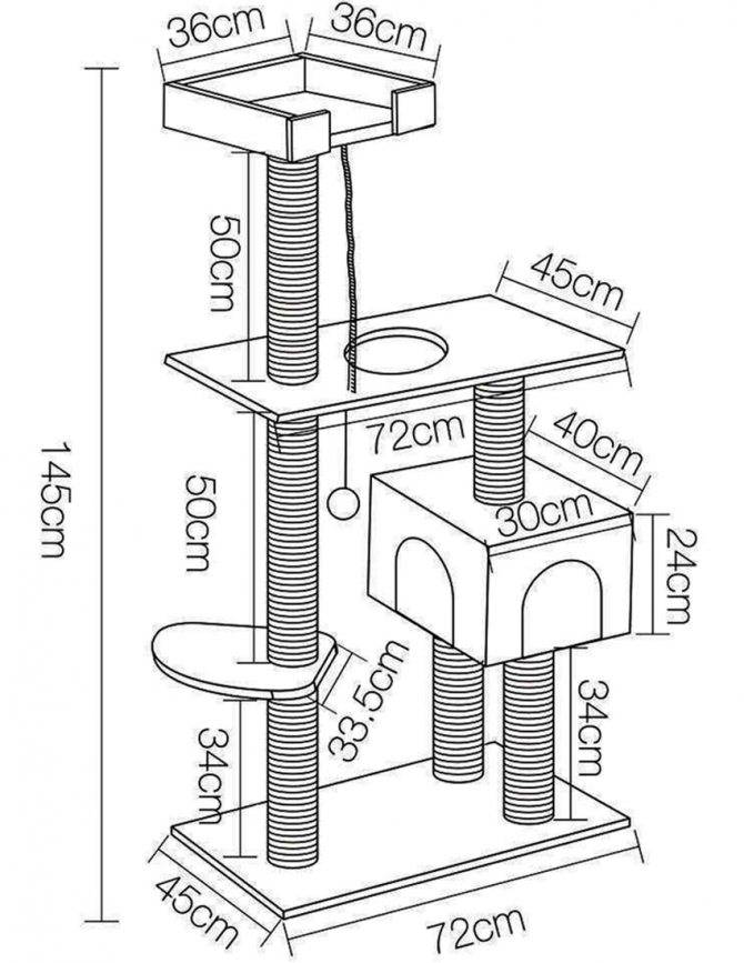 Домики для кошек с когтеточкой (42 фото): как выбрать? кошачий высокий дом с когтеточкой своими руками, чертежи и размеры