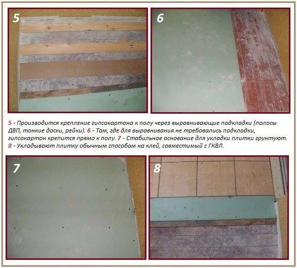 Как положить плитку на деревянный пол на кухне своими руками