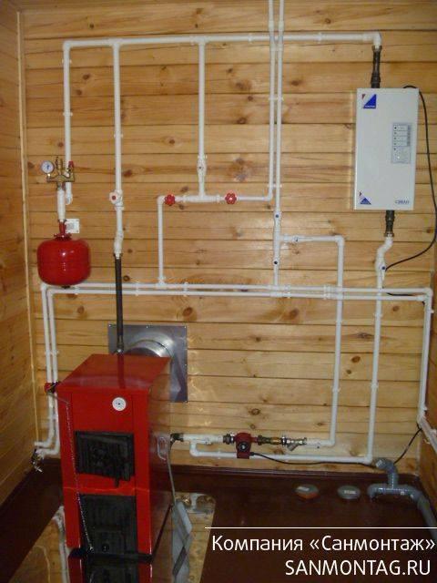 Система отопления в деревянном доме твердотопливным, газовым котлом выбор печи и схема проекта