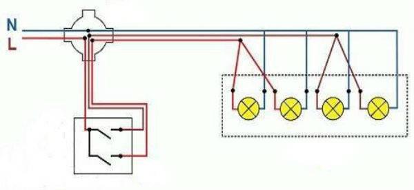 Подключение двух люстр к двойному выключателю: рассматриваем вместе